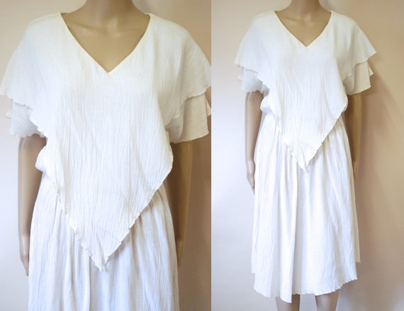 70s White Vintage Gauze Cheesecloth layered Dress,