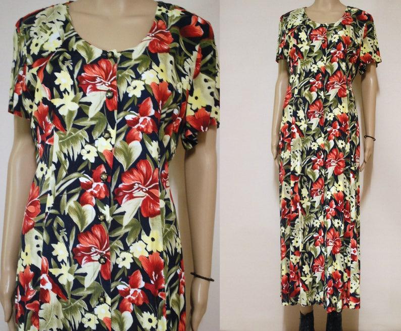 27c7ddacfd1 90s Red and Black Floral Dress Soft Grunge Vintage Boho Long