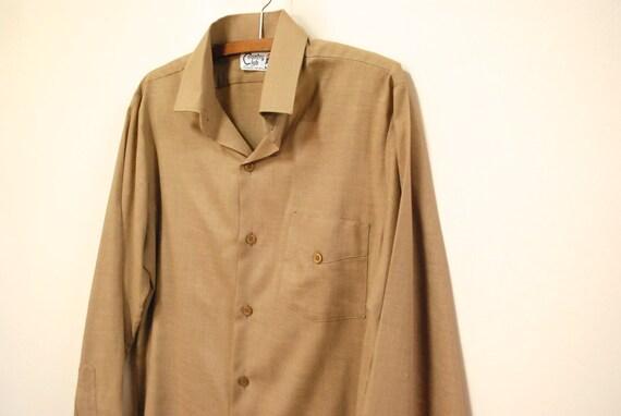 70 s Mens Pale Kramer Brown chemise Vintage Hipster Kramer Pale bouton vers le bas des manches longues Hippie Semi Sheer VTG Seventies des années 1970 de taille moyenne M 87a814