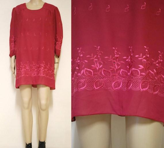 70s Floral Leaf Embroidered Dress, Vintage Seventi