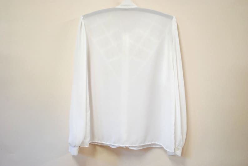 80s White Semi Sheer Shirt Vintage Satin Panels Pussy Bow High Neckline Button Down Blouse Office Secretary Puff Sleeves VTG 1980s Size M