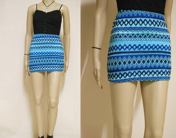 5d185ffcab 90s Blue Knitted Mini Skirt Zigzag Pattern Vintage Skater | Etsy