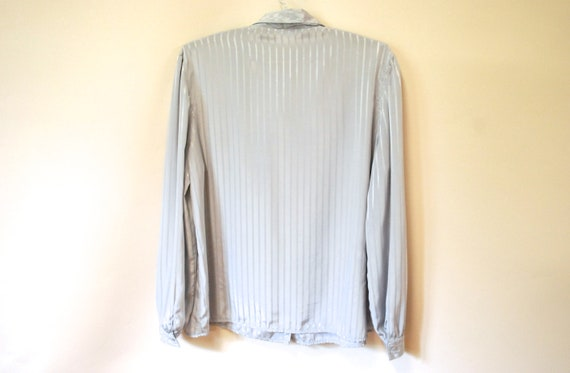 80s Grey Striped Pussy Bow Blouse, Vintage Long S… - image 8