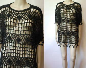 Black Crochet Top Dress 90s Vintage Beach Wear Boho Hippie Shirt Cotton Goth Vtg 1990s Size S-M