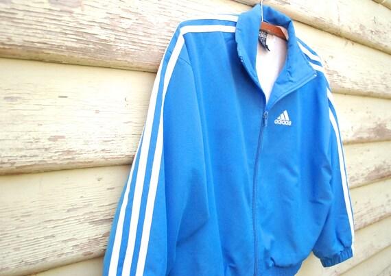 90s Adidas Cropped Jacket Vintage Tracksuit Sportswear Blue and White Nineties Grunge Hip Hop Vtg 1990s Size XS