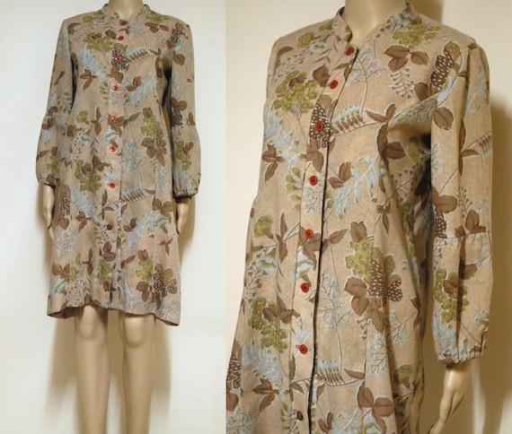 70s Pale Brown Floral Shirt Dress Vintage Retro Hippie  d9da6278ad0