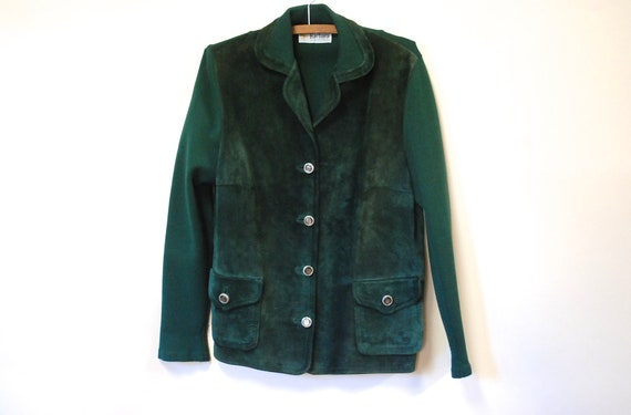 70s Suede Cardigan Vintage Dark Green Leather Jack