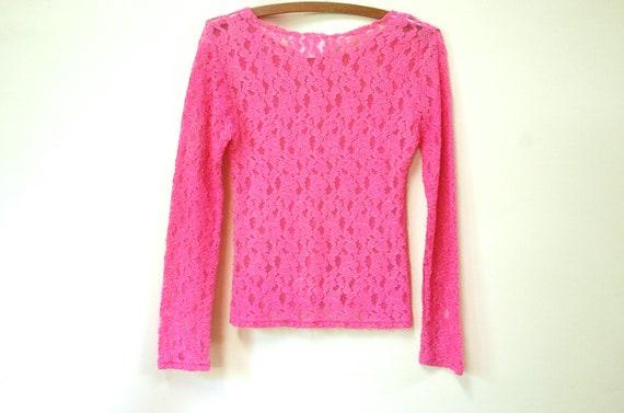 90s Hot Pink Lace Long Length T Shirt, Vintage Sh… - image 8