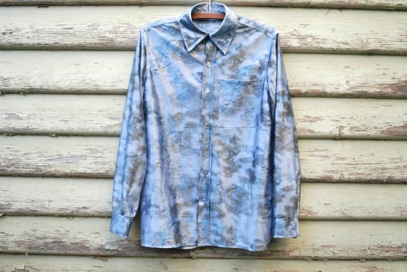 0f3752b3bf 90s Satin Shirt Blue Unisex Chinese Bird Vintage Floral Print