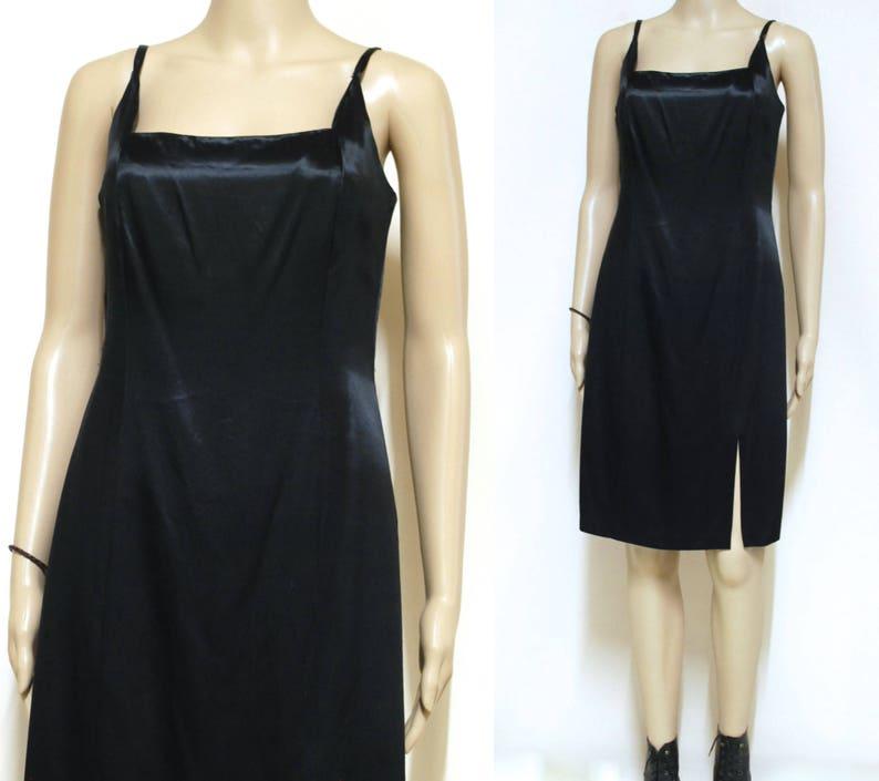 258d787e87dd 90s Black Satin Studibaker Hawk Dress Vintage Evening wear | Etsy
