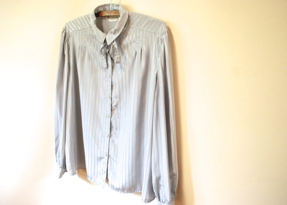 80s Grey Striped Pussy Bow Blouse, Vintage Long S… - image 4