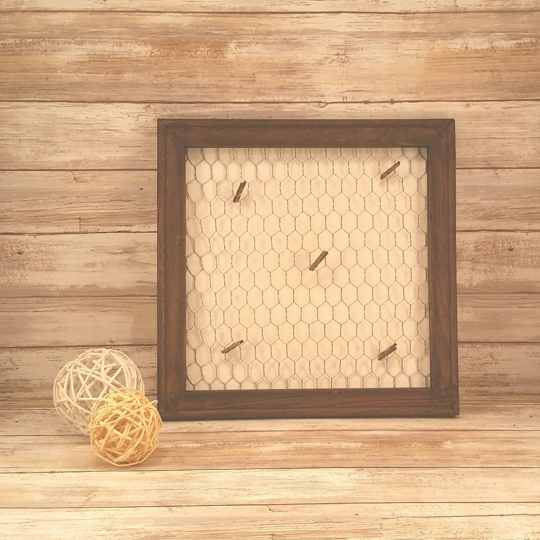 Chicken Wire Post A Note Framed Canvas Sign With Tiny Clothes Pins