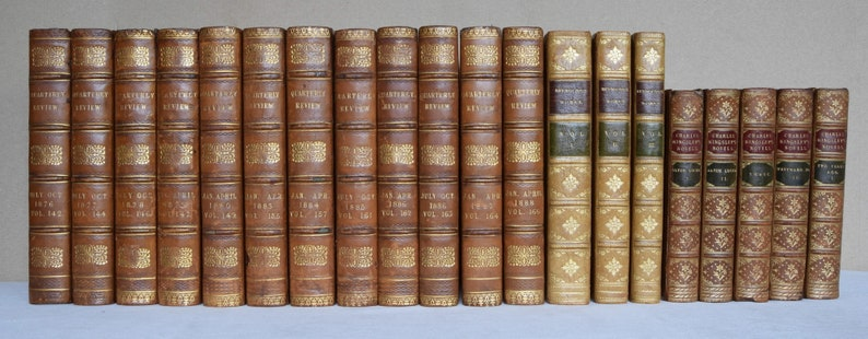 Antique Leather Bound Books For Decoration  1800 To 1930 image 0