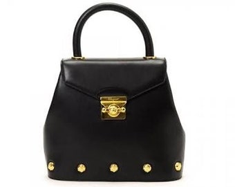 SALVATORE FERRAGAMO Vintage Black Leather Studded Top Handle Two Way Bag  gold studs with strap 7bed4ab88b11e