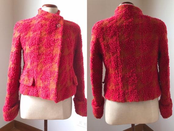 Vintage 90s CHANEL Multicolor Tweed Boucle Blazer… - image 3