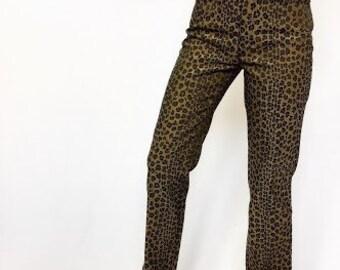 FENDI FF Vintage Leopard Print Jeans, Italy 40