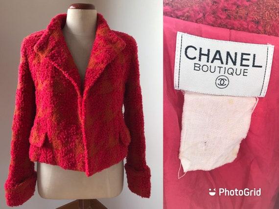 Vintage 90s CHANEL Multicolor Tweed Boucle Blazer… - image 2