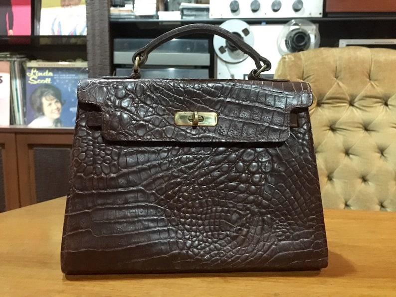 8b327ded106 MULBERRY England Croc-Embossed Kelly Bag. Dark brown. Rare