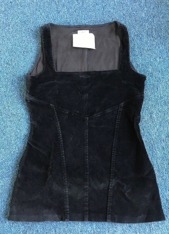 Chanel Vintage Velvet Black Square Neck Top
