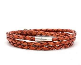 Braided brown Leather wrap bracelet for men - brown leather bracelet for men - gift idea for men
