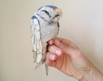 barn owl art doll animal sculpture textile OOAK totem woodland whimsical fantasy creature embroidered harry potter owl post