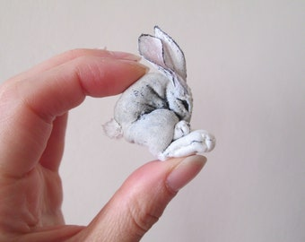 white rabbit bunny textile miniature art doll animal totem jackrabbit woodland forest creature hand painted embroidered alice in wonderland