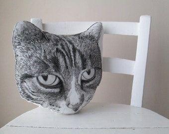 Chartreux cat pillow head shaped