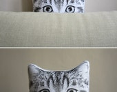 cat pillow decorative cushion peeking cat for crazy cat lady tabby cat head cuddly toy hand painted gift idea for cat lovers