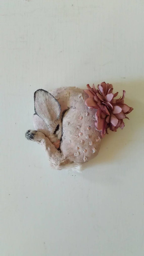 White Fawn Albino Deer Symbolic Animal Totem Miniature Pink Chrysanthemum Flower Textile Art Sculpture Art Fantasy Hand Painted Embroidered