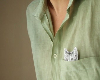 cat lover gift cat brooch peekaboo kitten hand painted soft fabric brooch for cat lovers black and white