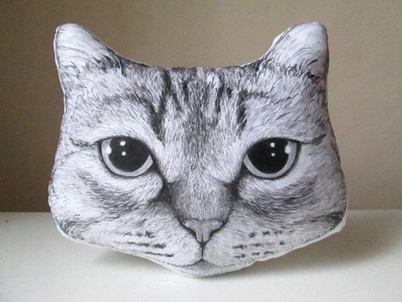 Cuscino decorativo personalizzato a forma di testa di gatto etsy