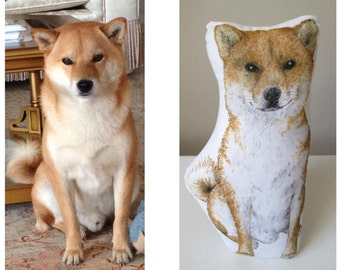 Custom dog plush hand painted personalized dog portrait realistic drawing pillow dog replica plush for dog lovers akita inu shiba inu