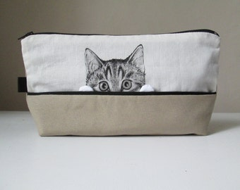 cat pouch hand painted cosmetic bag toiletry storage gift idea for crazy cat lady cat lovers hand painted fabric cotton ivory sandy beige