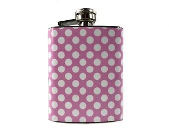 Pink Polka Dot Flask