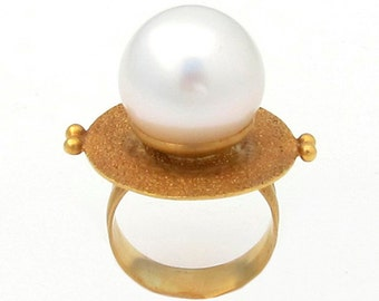 Ring with South Sea Pearl, Size 7.5