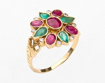 Ring with Ruby, Emerald, Diamond, Size 7.25