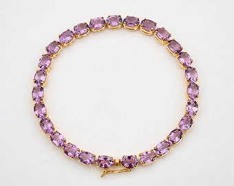 Bracelet with Amethyst 7.75 inches