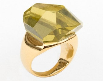 Ring with Lemon Quartz, Size 8.25