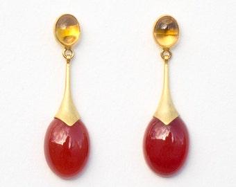 Maroon Drop Earrings, 13 x 45 mm