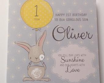 Cute Personalised Boy 1st Birthday Card Son Grandson Nephew Godson 2nd 3rd 4th 5th 6th Blue With Bunny