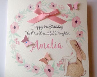 Cute Personalised Girls 1st Birthday Card Daughter Granddaughter Niece Goddaughter 2nd 3rd 4th 5th 6th Pink With Bunny
