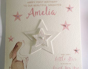 Cute Personalised Watercolour Girl 1st Birthday Card Daughter Granddaughter Goddaughter Niece 2nd 3rd 4th 5th 6th Pink With Bunny