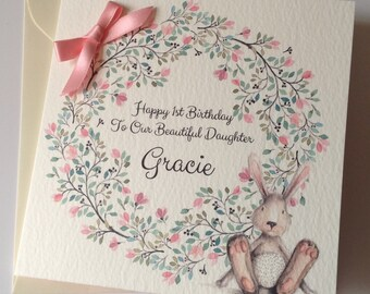 cute personalised watercolour 1st birthday card daughter granddaughter niece 2nd 3rd 4th 5th 6th pink with bunny