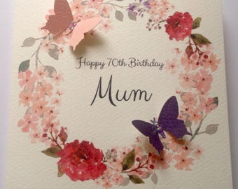 Personalised Watercolour Mum Nan Grandaughter Daughter Any Name 30th 40th 50th 60th 70th 80th 90th 100th