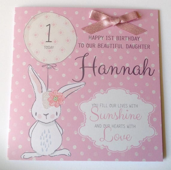 Cute Personalised 1st Birthday Card Daughter Granddaughter Etsy