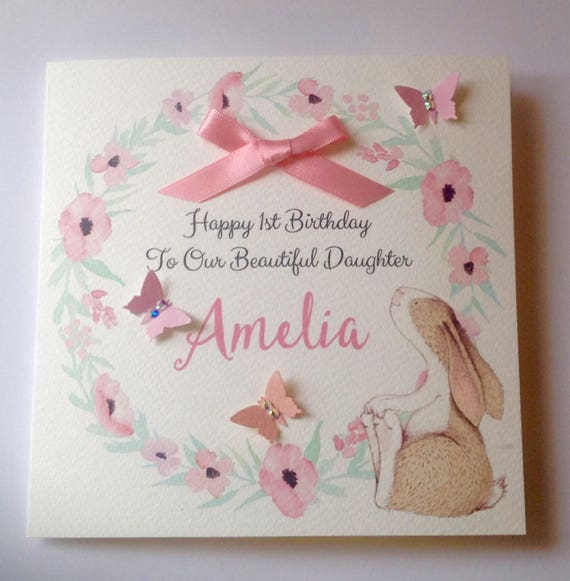 Cute Personalised Watercolour 1st Birthday Card Daughter Etsy