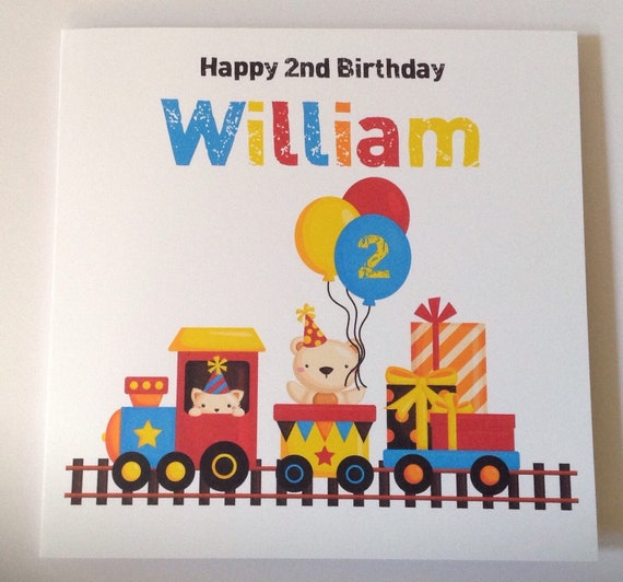 Handmade Personalised Cute Animal Train Birthday Card 1st 2nd Son Grandson