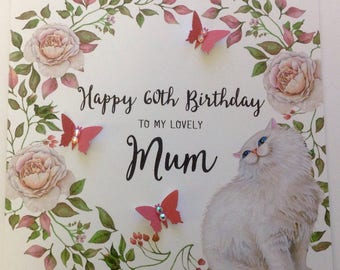 Personalised Cat And Butterfly Birthday Card Mum, Nan, Daughter, Friend, 30th 40th 50th 60th  70th 80th 90th 100th