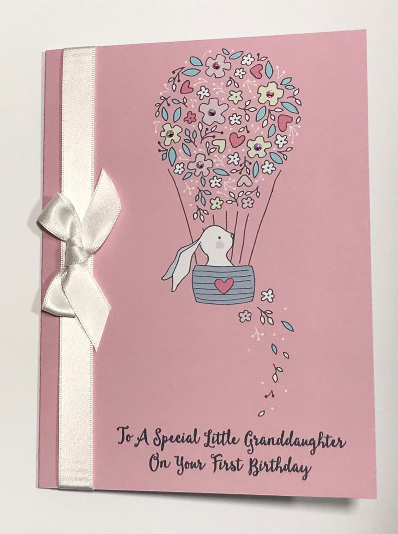 A5 Cute Personalised Girl 1st Birthday Card Daughter