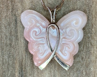1f811c2857855 Butterfly Breast Cancer Awareness Necklace N10312 by Lois Wagner